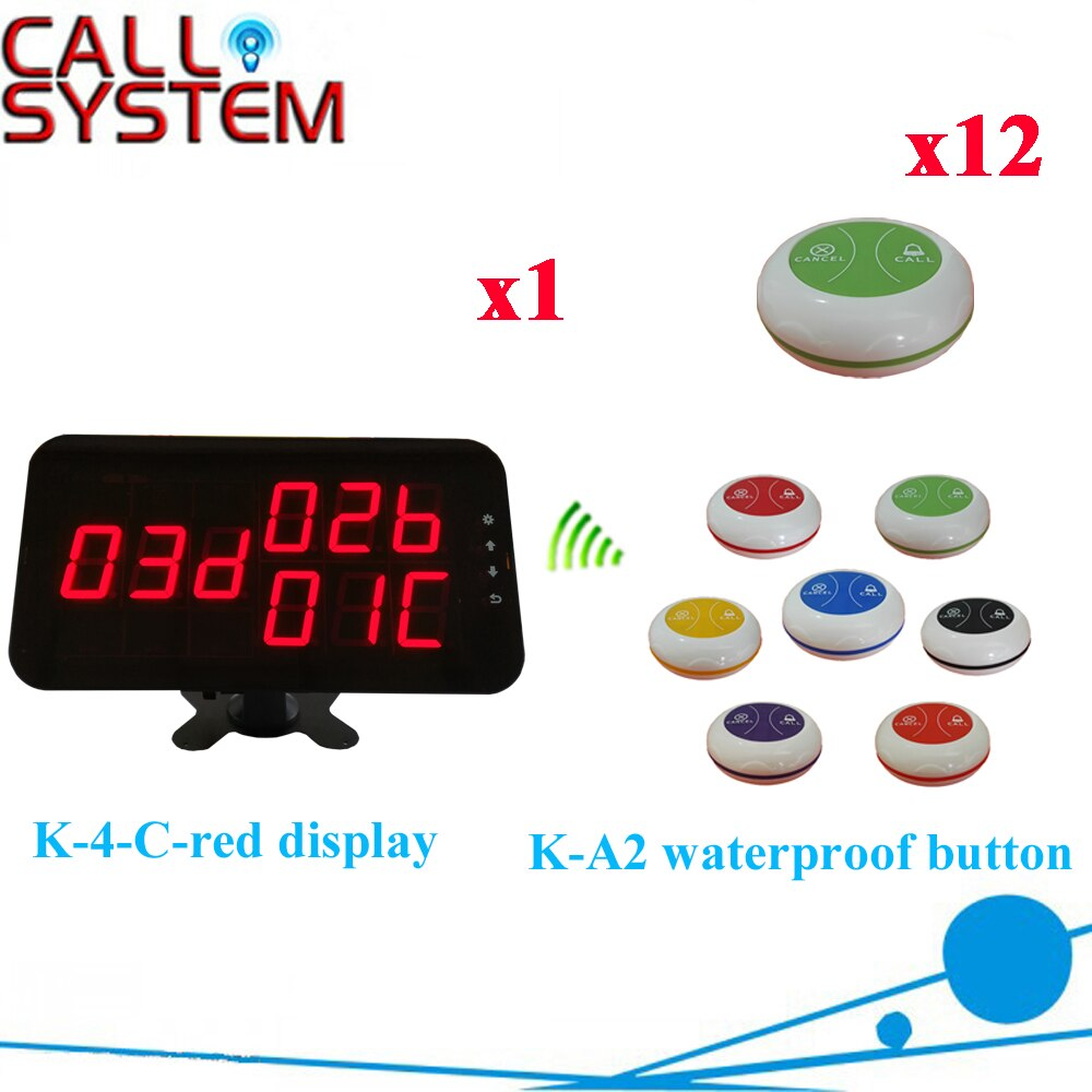 Wireless Guest Calling System Best Price Of Pager 433.92MHZ Restaurant Pager Equipment( 1 display+12 call button )