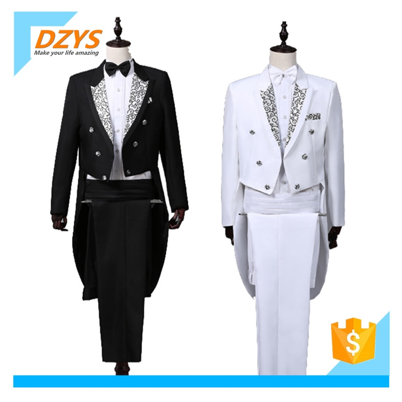 DZYS Men's Dress Tuxedo Magic Show Conductor Belly Singer Costume Jazz Set Dance suits