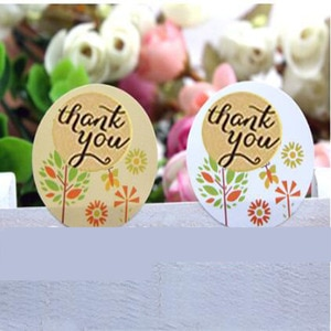 """New Trend 200 PCs Thank You Self-adhesive Stickers Kraft Paper Labels Diameter 1.5"""" For DIY Hand Made Gift Cake Candy Seal"""