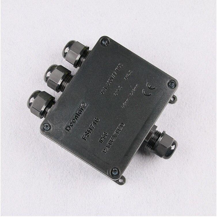 Caja de conexiones subacuática al aire libre en negro/1 en 3 Out/Conductor principal 9-12mm/despegue 4-9mm/conector divisor Brancher