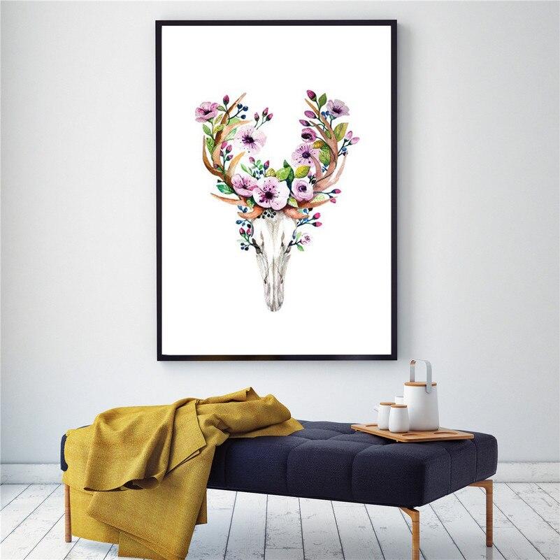 Póster de flor y cráneo con cabeza de ciervo de acuarela, impresiones en lienzo nórdico, cuadros de pared para sala de estar, arte de pared abstracta, decoración del hogar