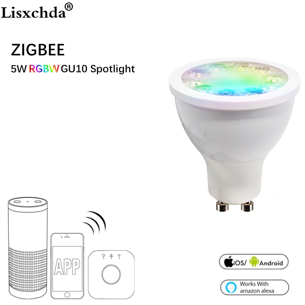 Zigbee puente LED RGBW 5W GU10 proyector color zigbee zll bombilla LED AC100-240V led APP controlador regulable LED inteligente