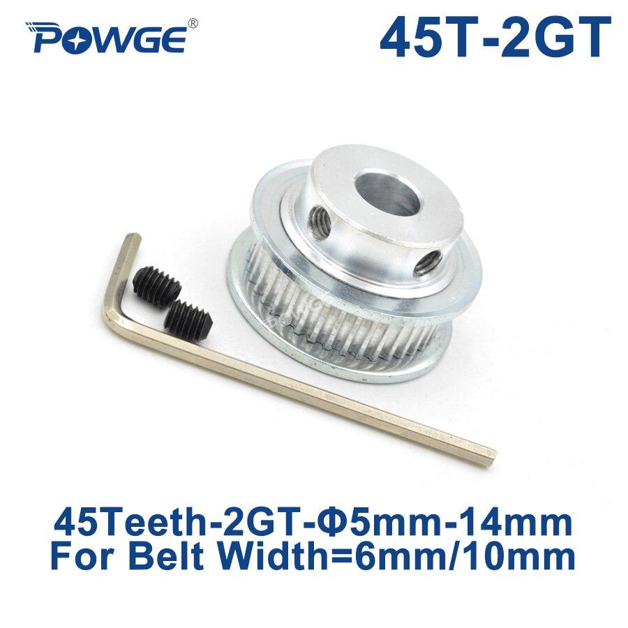 POWGE GT 45 Teeth 2GT Timing Pulley Bore 5/6/6.35/7/8/10/12/14mm for GT2 Open Synchronous belt width 6/10mm gear 45Teeth 45T