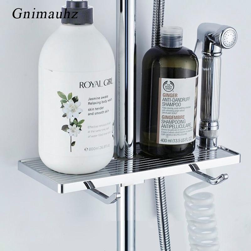 ABS Bathroom Shampoo Lotion Tray Holder Shower Storage Bath Caddy Rack Pole Shelf Adjustable Shower Storage Organizer Shelves