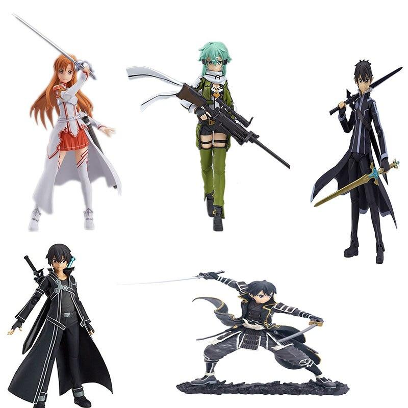 Anime Sword Art Online Figure Kirigaya Kazuto Yuuki Asuna Asada Shino PVC Action Figurines Toys  Collection Model Dolls Box Gift