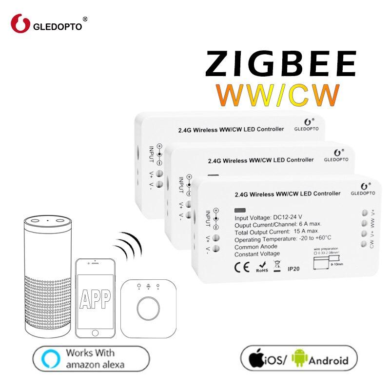 Precio de fábrica gledopto WW/CW sistema de control inteligente zigbee control inalámbrico led controlador de iluminación 12v-24v rgb interruptor de atenuación LED