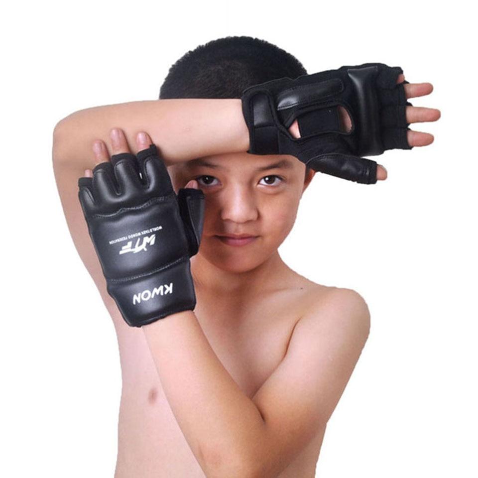 Kids Children half finger Boxing Gloves Mitts Sanda Karate Sandbag Taekwondo Protector Age 3-12
