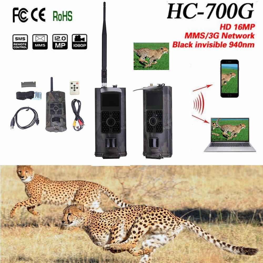 Hc700g hc700m caça câmera 16mp 1080 p 0.5S trail câmera chasse 3g 2g mms sms 940nm infravermelha wildlife caça câmera armadilha