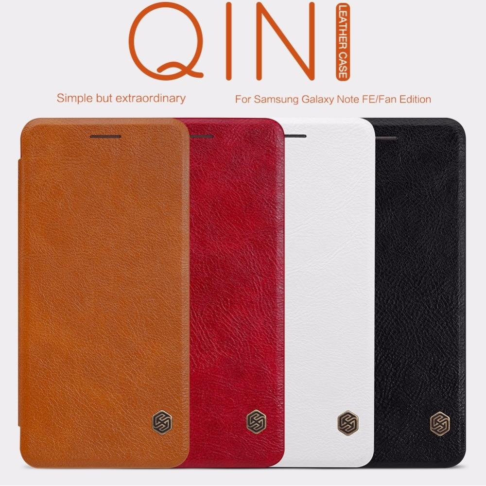 NILLKIN Vintage de cuero Qin funda para Samsung Galaxy nota FE flip de lujo de la cubierta de carpeta