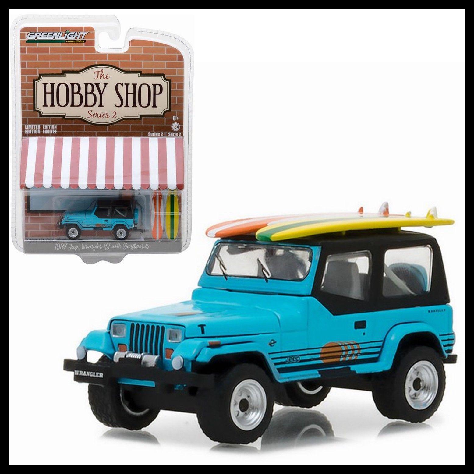 GL 164 1987 Jeep Wrangler YJ con Surfboard, modelo de coche de aleación, juguete de Metal fundido a presión, regalo de cumpleaños para niños
