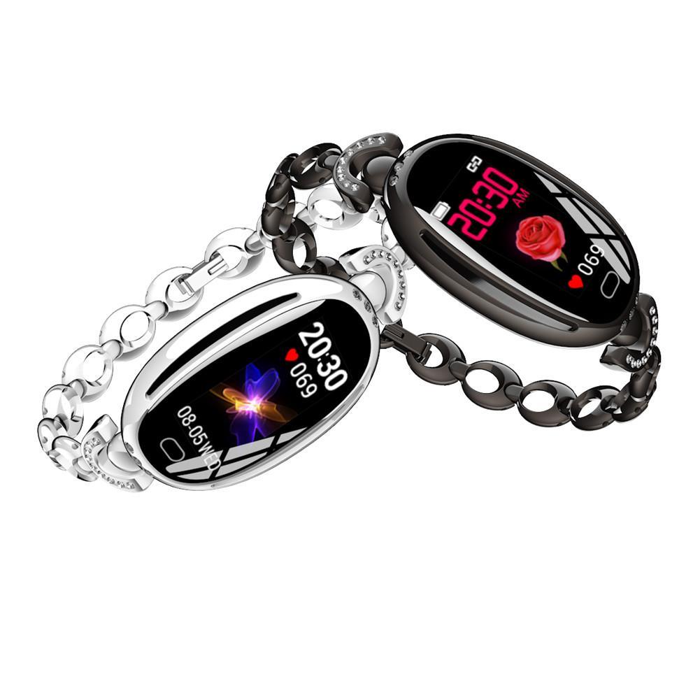 Relógio inteligente moda feminina à prova dwaterproof água monitoramento de freqüência cardíaca saúde bluetooth relógios pulseira para android ios rastreador de fitness