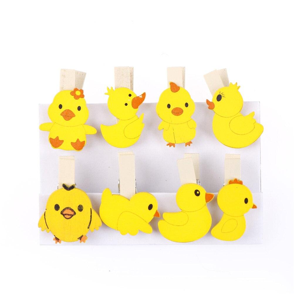 Boda fiesta foto clip 8 unids/set fotografía de madera clip calcetines abrazadera pato amarillo foto clips fiesta decoración diy