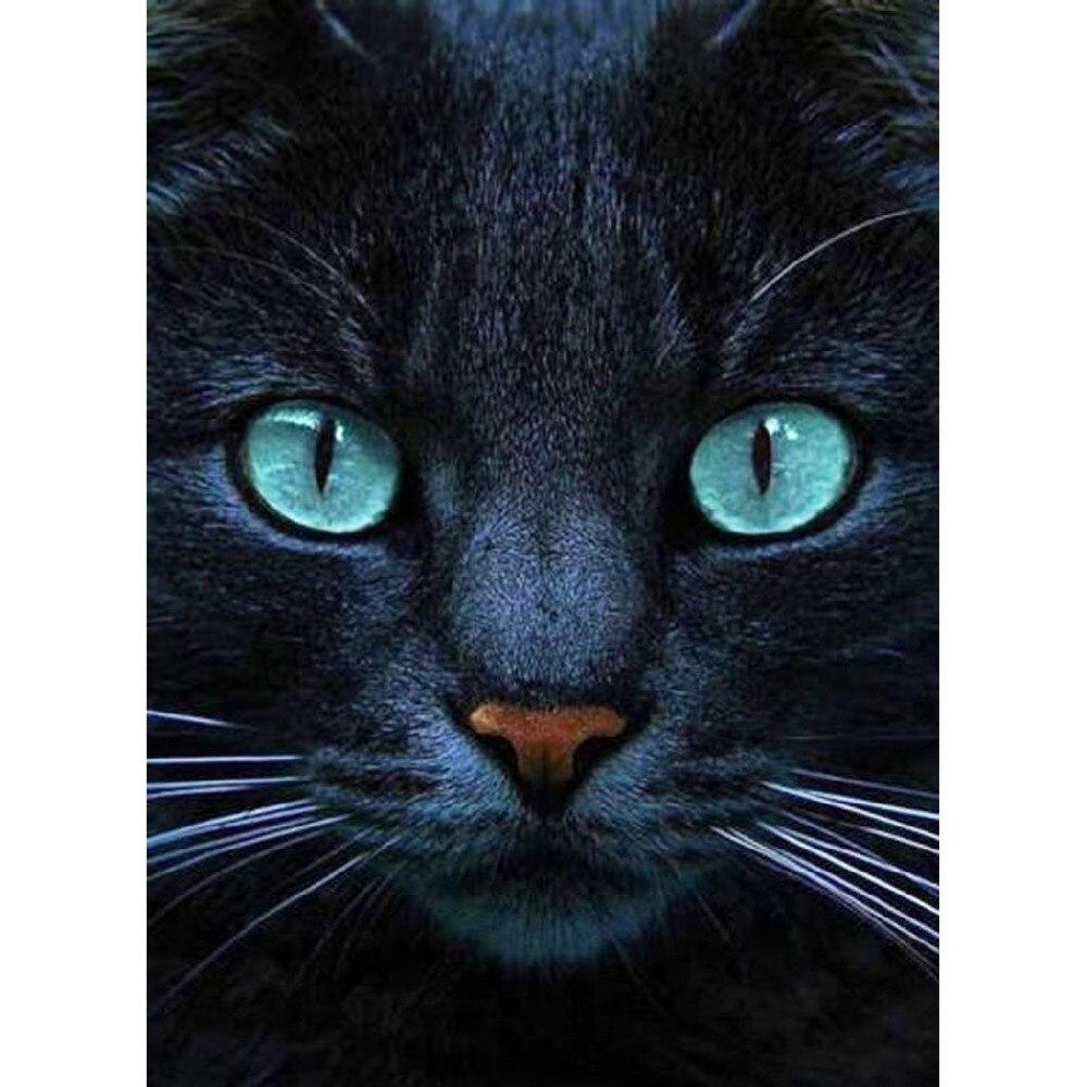 5D DIY Diamond Paintings Full Drill Round Green-eyed Long Beard Cat Mosaic Embroidery Animals Pattern Handmade Decoration Home