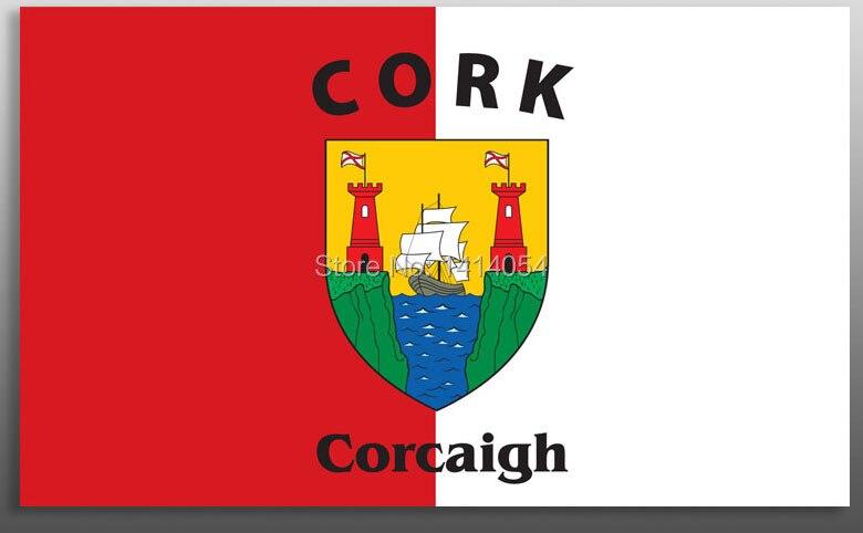 Bandera del Condado de Cork, bandera del Estado irlandés, 150X90CM, bandera 100D Polyester3x5 FT, arandelas de latón 002, envío gratis