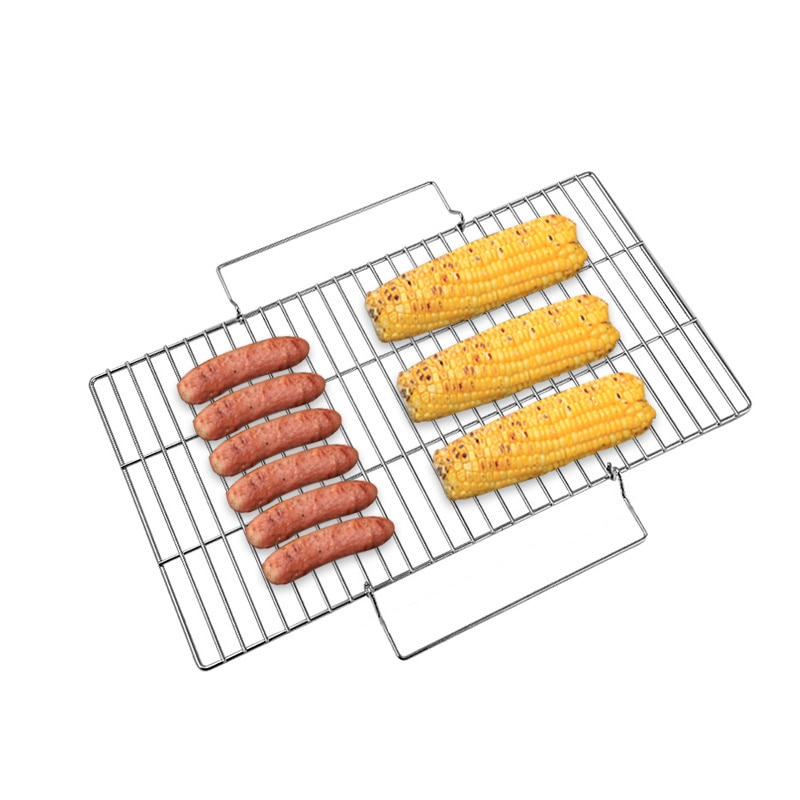 Rejilla de alambre para barbacoa, herramienta para asar carne antiadherente, estante vegetal, Asa de red para asar pollo, carne, barbacoa, herramienta de acero inoxidable