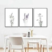 Affiches de toile deucalyptus lavande   Mur botanique de ferme moderne, peinture de tige dolive, images murales, décor de salle de maison
