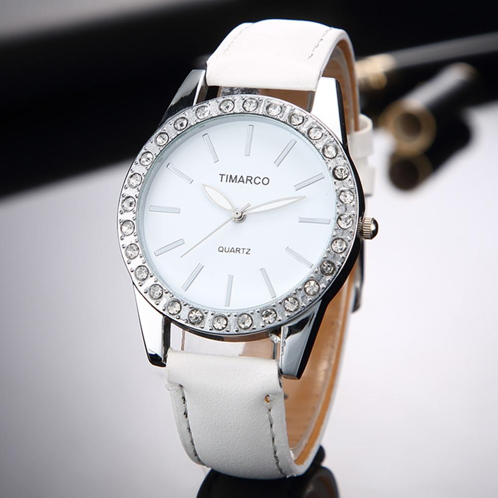 2019 New Fashion White Leather Quartz Rhinestone Watches Women Top Brand Luxury Dress Clock Ladies Casual Wristwatch Reloj Mujer 2020 women watches top brand luxury quartz watch leather strap fashion wristwatch for women clock ladies hodinky reloj mujer
