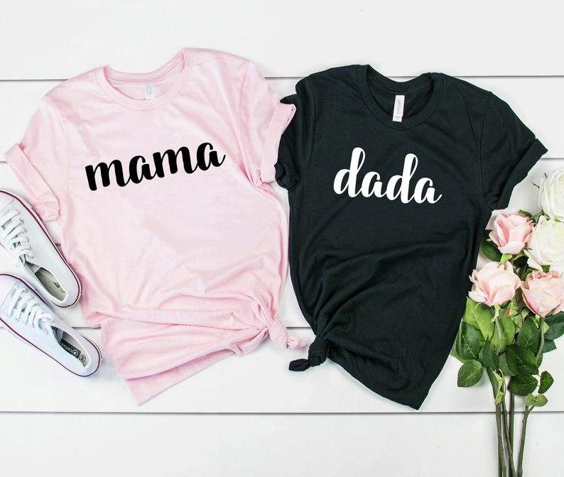 Футболка Skuggnas мама и дада парная подходящая футболка на день рождения целуютная футболка для мужчин и женщин одежда для пар