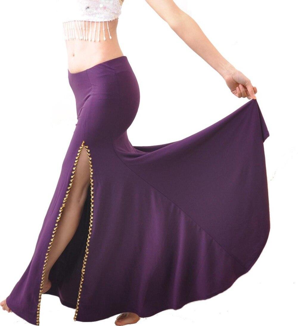 Nuevo vestido de falda dividida para actuaciones profesionales de danza del vientre 9 colores