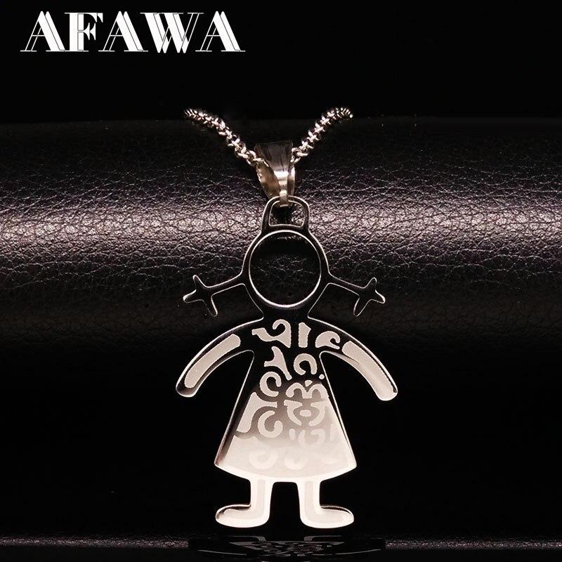Menino menina pingentes colares chocker aço inoxidável corrente colar família jóias para mulher kettingen voor vrouwen n3409