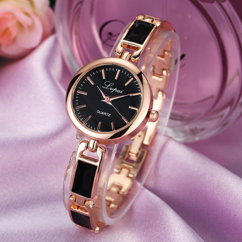 ¡Novedad de 2018! elegante reloj de pulsera para mujer, Correa dorada y plateada, diseño sencillo, reloj de pulsera informal de cuarzo para mujer # D