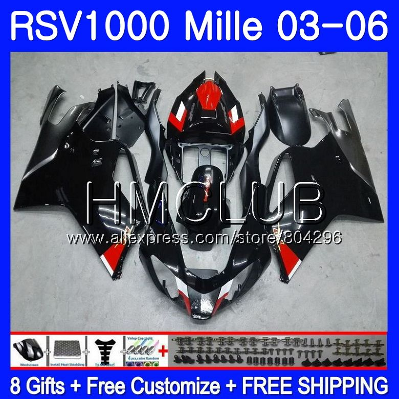 Cuerpo Aprilia RSV1000 R RR 03 04 05 06 RSV1000R Mille brillo negro 123HM.7 RSV1000R RSV1000RR 2003, 2004, 2005, 2006 carenados