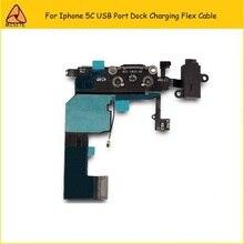 10PCS/LOT Phone Dock Charger Flex For Iphone 5C Charging Port Dock USB Connector Headphone Audio Jack Ribbon Flex Cable Parts