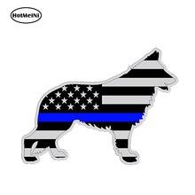 HotMeiNi13x9.1cm Car Styling German Shepard Police K9 Dog Silhouette Car Sticker Gray Subdued Flag Waterproof Bumper Accessories