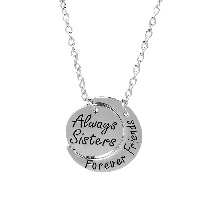 Siempre hermanas para siempre amigos en forma de luna de plata colgante...