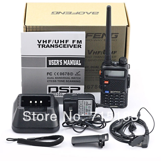 Original de BAOFENG UV 5R VHF136-174MHz y UHF 400-520MHz de banda Dual 5W FM VOX dos gratis Radio Baofeng UV-5R walkie talkie para coche