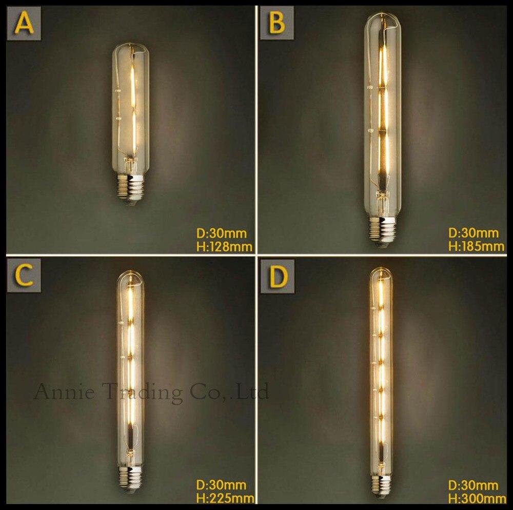 220V 2W/3W/4W/6W bombilla Edison de filamento LED E27 T10 T185 T225 T300 bombilla tubular de tubo de prueba largo vintage bombillas LED bombilla de filamento