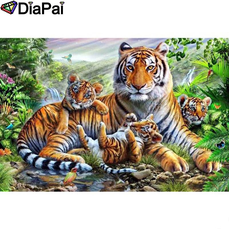 "DIAPAI Diamond Painting 5D DIY 100% Full Square/Round Drill ""Animal tiger family""Diamond Embroidery Cross Stitch 3D Decor A24838"