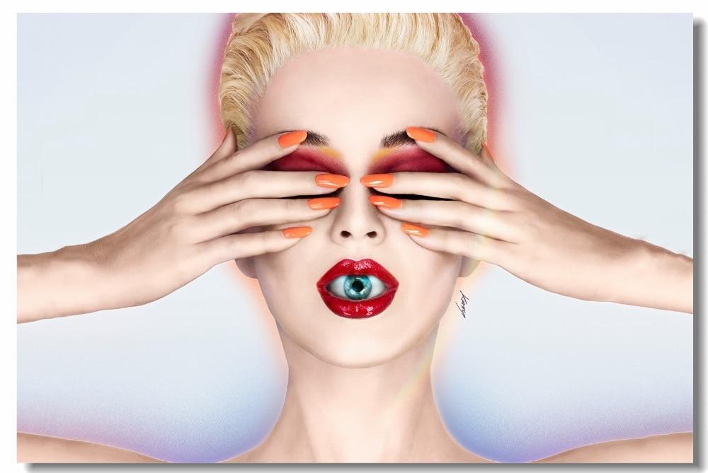Lienzo personalizado Mural de pared Sexy Pop póster de estrella musical Katy Hudson papel pintado álbum de testigo pegatinas de pared decoraciones de dormitorio #0563 #