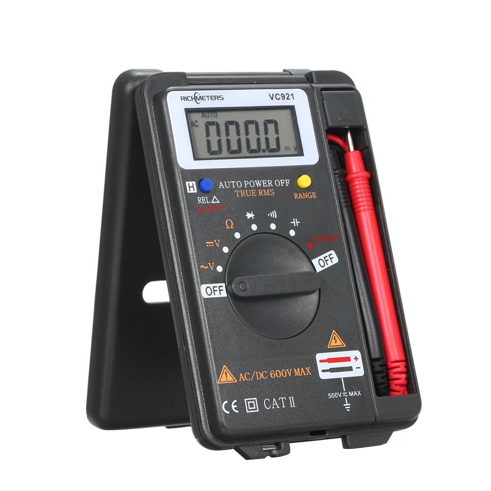 Multímetro Digital plegable Mini medidor ESR Transistor probador voltímetro de mano multímetro con cables de prueba multímetro