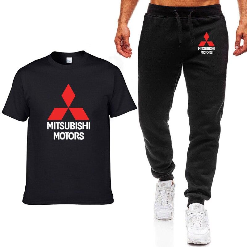 New Summer Men T Shirts Mitsubishi Car Logo Print HipHop Casual Cotton Short Sleeve high quality T-shirt pants suit Men Clothing