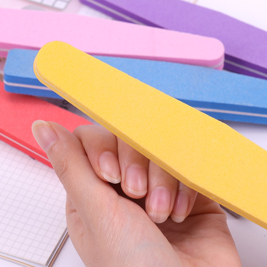 5 uds limas de uñas para manicura 100/180 lija esponja Buffer bloque uñas Lima pulir herramienta de cuidado de uñas
