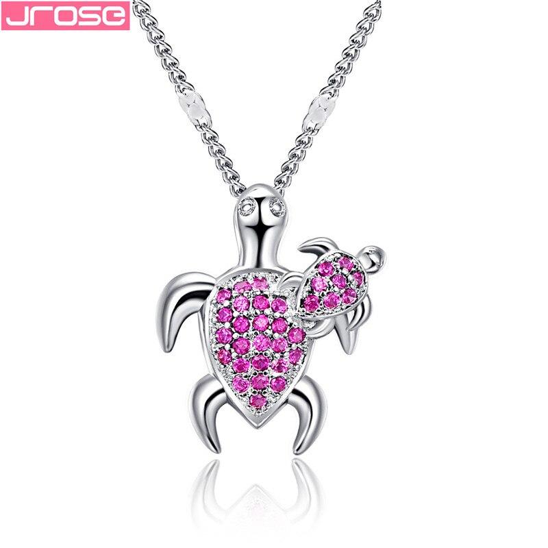 JROSE moda collar de colgante de tortuga Marina plateado negro Rosa rojo para mujer Animal boda océano playa joyería regalo