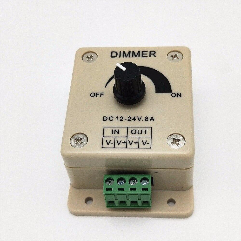 Белый светодиодный диммер DC 12V 24V 8A Регулируемая яркость лампы полосы драйвер один цвет свет блок питания контроллер