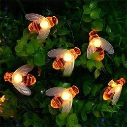Xsky 3d luzes forma de abelha fada led string luz jardim cerca pátio árvore natal feriado decorarive string lâmpada alimentado por bateria
