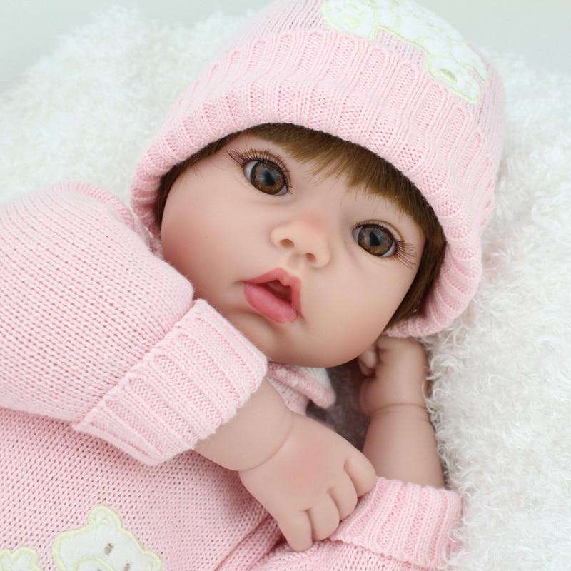 20 inch 50cm Silicone Reborn Baby Dolls Alive Lifelike Brown Wig Real Dolls Bebe Realistic Reborn Babies Girl Toys Birthday Gift