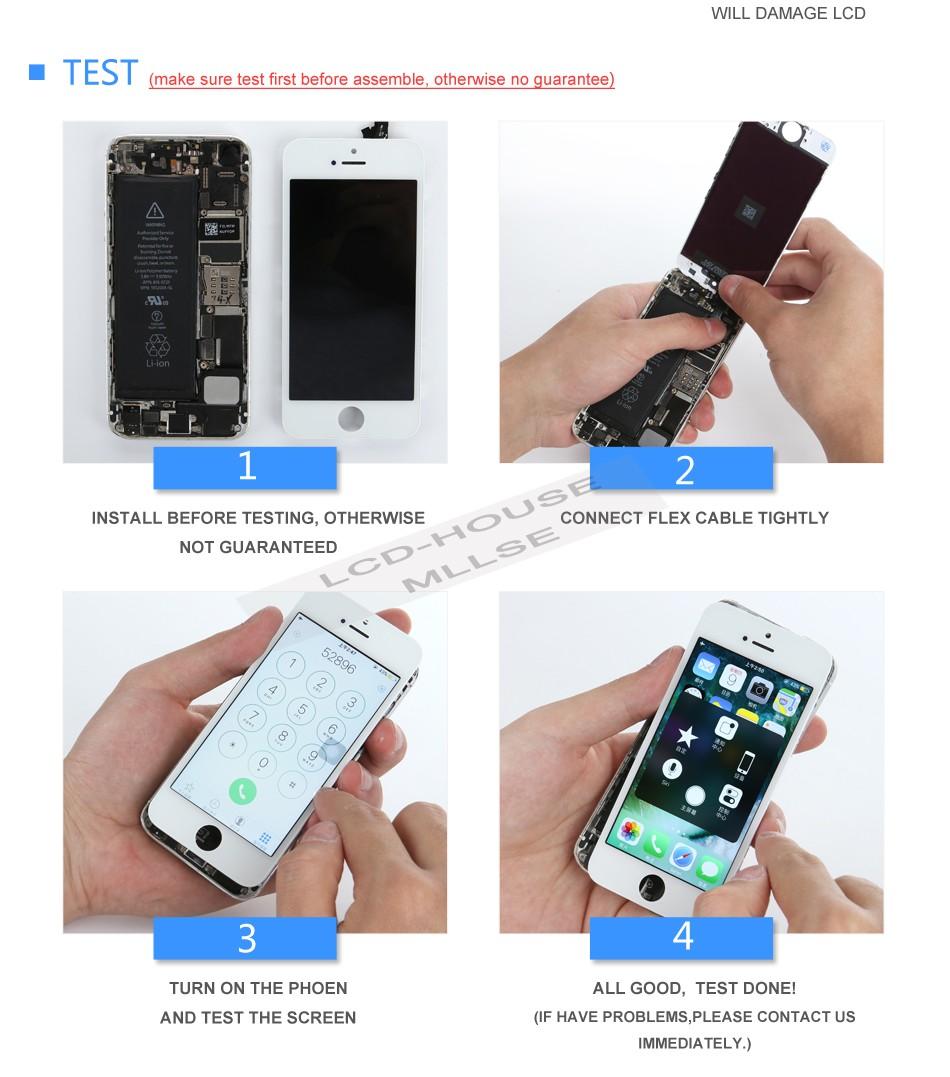 Mllse dla iphone 5 5s 5c moduł wyświetlacza lcd dotykowy ekran digitizer szklarz klon telefonu ekran lcd Klasy AAA jakość 10