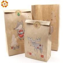 Boîtes à bonbons en papier Kraft 2 tailles   Fournitures cadeaux de noël, emballages pour invités, décorations pour fête joyeux noël, 12 pièces/lot