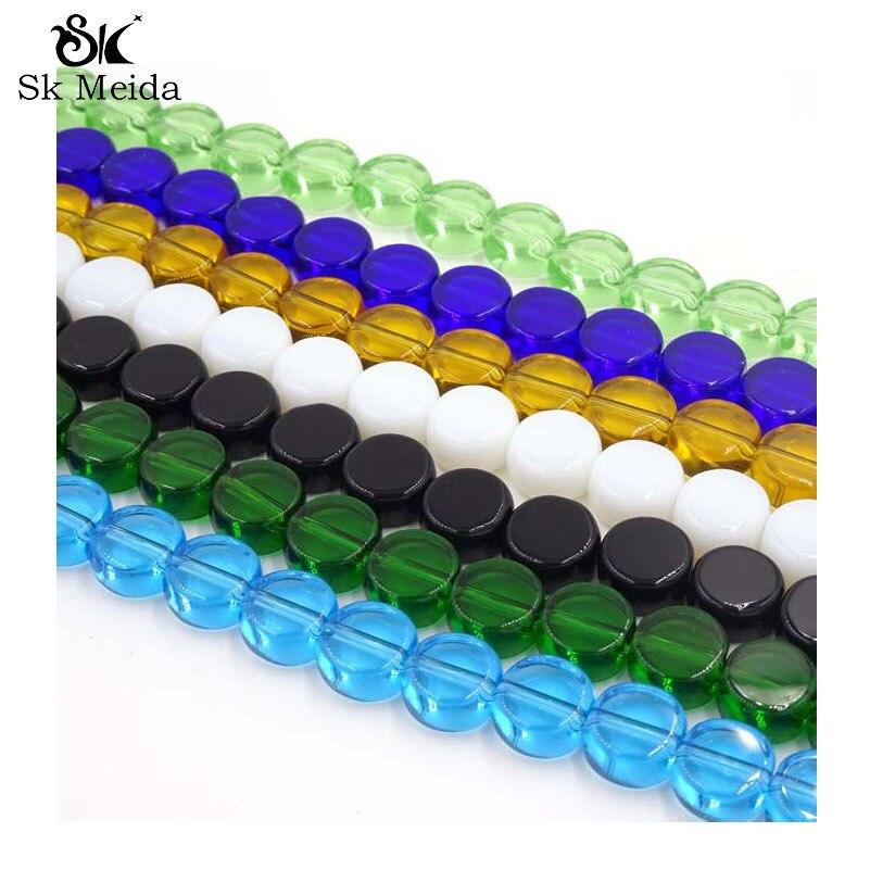 Cuentas de vidrio redondas planas de color 10mm Glazen Kraaltjes cuentas joyería...