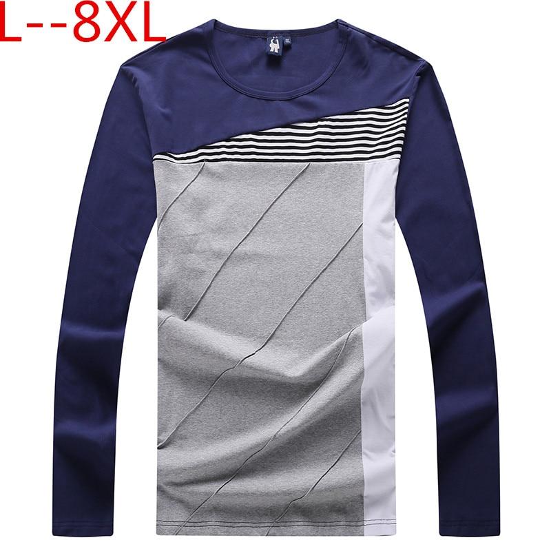 Camiseta de manga larga de hombre de Otoño de talla grande 10XL 8XL 6XL 5XL 4XL de algodón de alta calidad pulóver Casual Camisa de moda ropa de marca