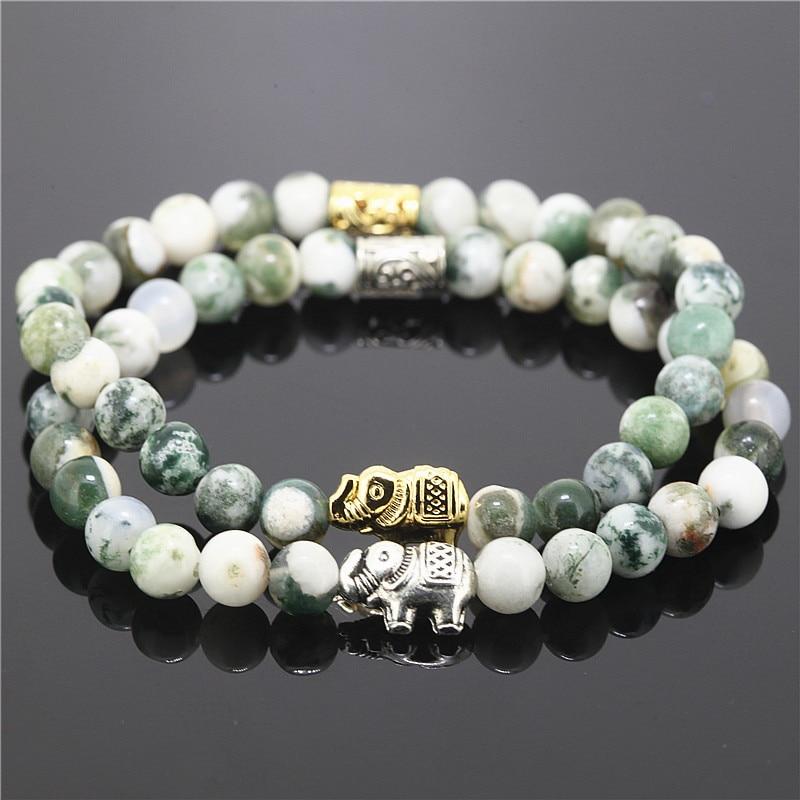 2PCS Green And White Indian Beads Stretch Bracelet Women Natural Stone Animal Pendant Charms Elephant Bracelet Girls Gift