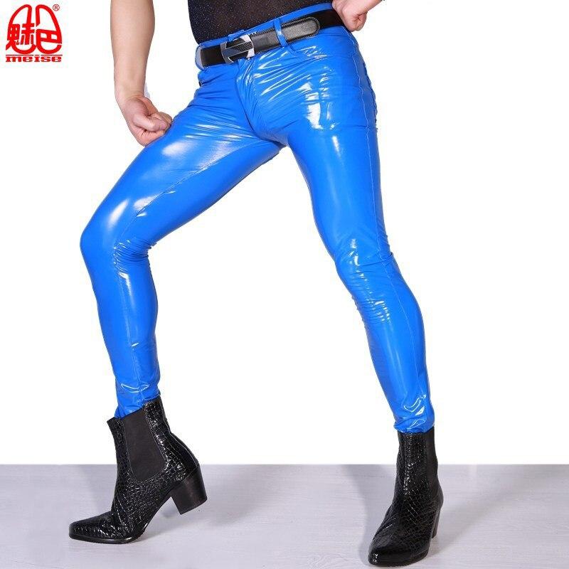 Hommes Sexy haute élastique bleu PVC brillant crayon pantalon serré Faux cuir fermeture éclair avant mode brillant Punk crayon pantalon Gay Wear F123