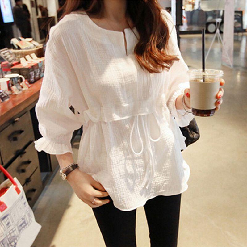 Outono feminino cor sólida camiseta solta rendas até cintura cordão três quartos manga borboleta pequeno fresco babados o pescoço topos