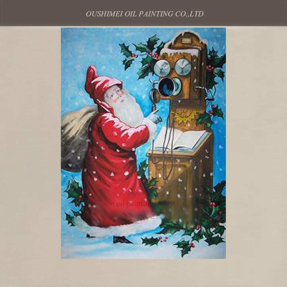Pintados À mão Pintura A Óleo Pintura de Parede Papai Noel para Holloween Decoração Fotos na Parede Da Lona de Arte Da Decoração de Natal