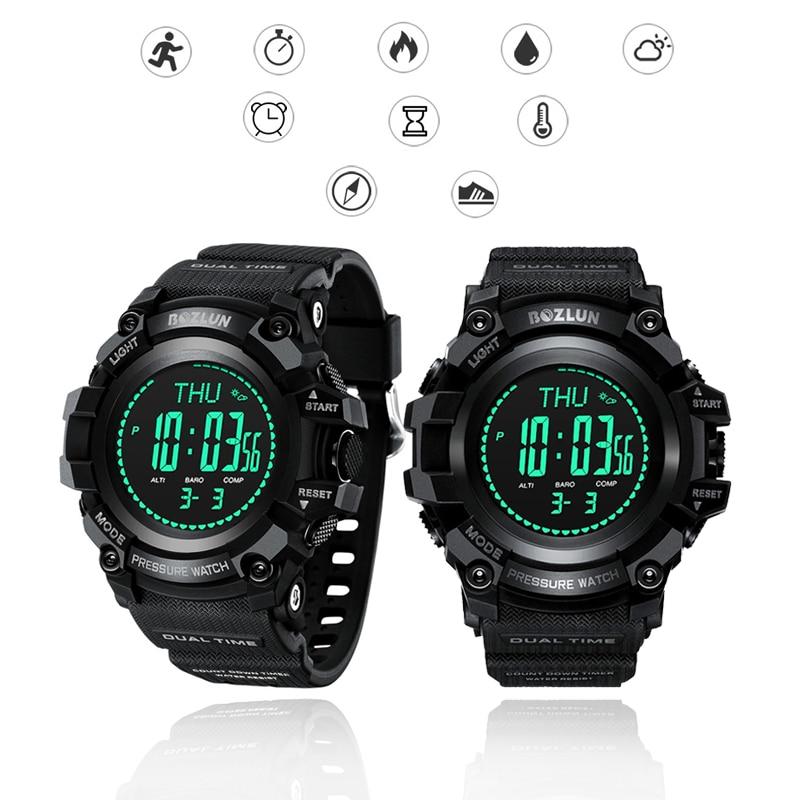 Waterproof Outdoor Sport Smart Watch Climbing Sport Wristband Compass Calories Steps Recorder Weather Height Pressure Show