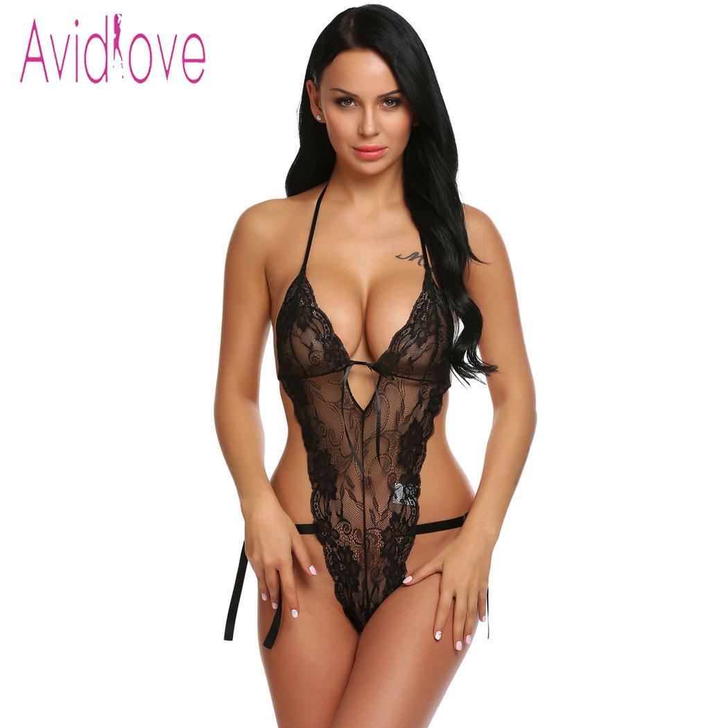 Avidlove sleepwear erótico feminino bodystocking trajes sexy corpo terno lingerie bodysuit sheer floral rendas teddy nightwear